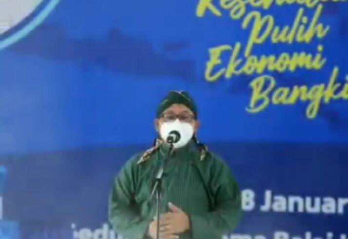 Walikota Malang H. Sutiaji berikan sambutan dalam vaksinasi perdana (Foto: Dokumentasi Humas Kota Malang)