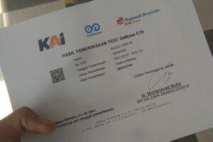 sertifikat hasil pemeriksaan GeNose (foto: Nuzul DM)